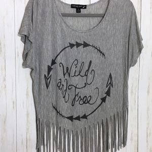 Gray Cropped Fringe Tee - Wild and Free - Small
